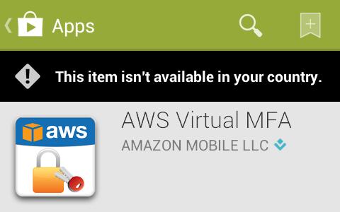 Geoban in Play Store on AWS virtual MFA