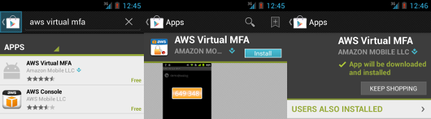 Installing AWS virtual MFA from Play Store over TOR
