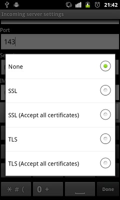SSL/TLS options of the stock Android Mail application