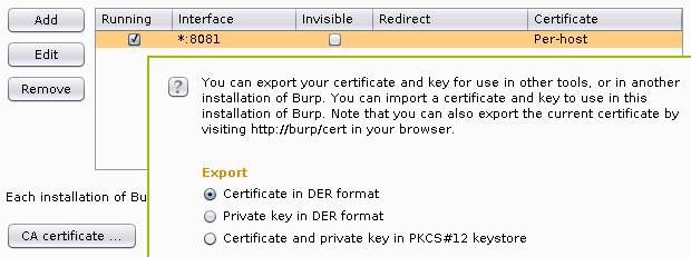 Exporting root CA certificate from Burp Proxy
