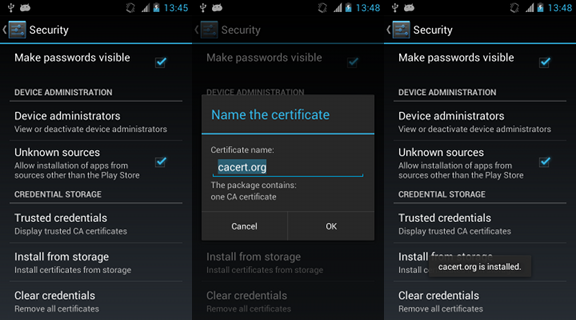 Installing the CAcert root certificate on Android