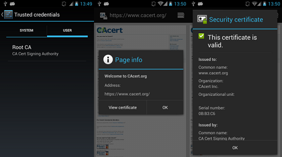 Using CAcert root certificate on Android