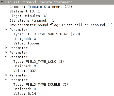 Wireshark dissecting a MySQL execute packet after r39483