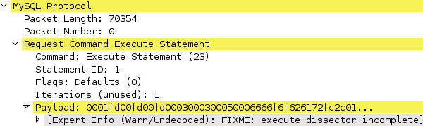 Wireshark dissecting a MySQL execute packet before r39483