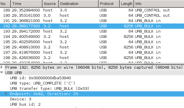 Wireshark analysis of screenshot transmission via USB